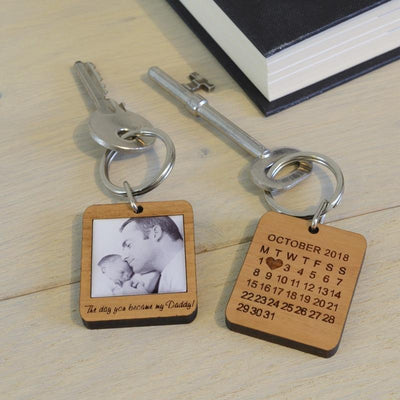 Personalised Wooden Key Ring With Photo for Dad-Keyring-Give Personalised Gifts