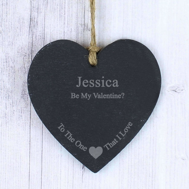 Personalised The One I Love Slate Heart Decoration-Hanging Decoration-Give Personalised Gifts