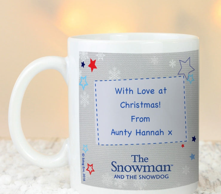 Personalised The Snowman and the Snowdog Blue Mug-Mugs-Give Personalised Gifts