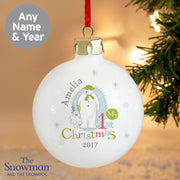 Personalised The Snowman and the Snowdog My 1st Christmas Bauble-Bauble-Give Personalised Gifts