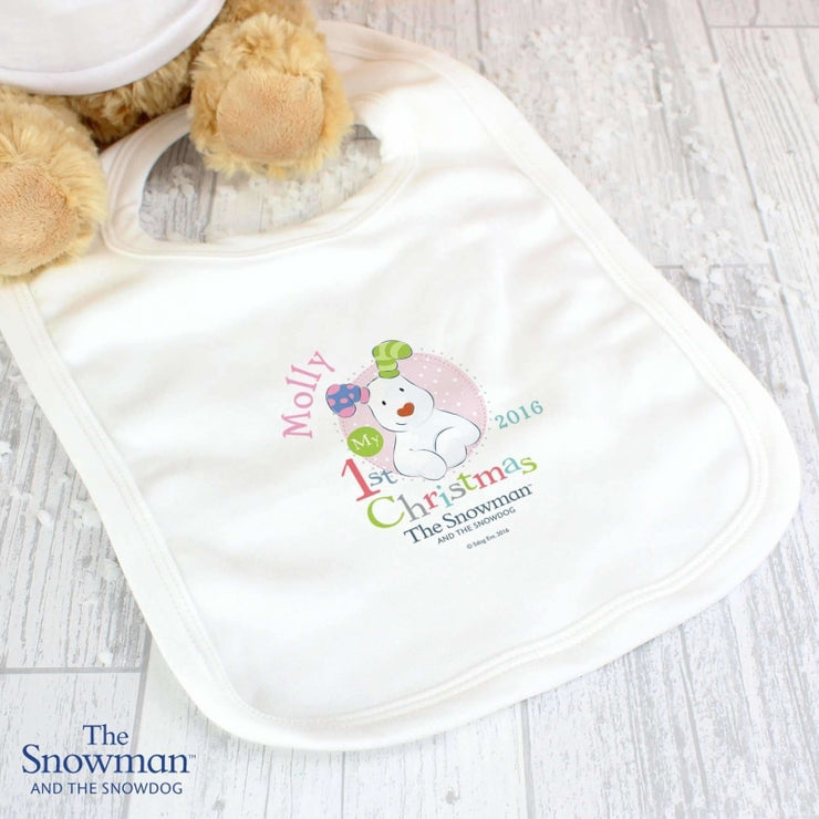 Personalised The Snowman and The Snowdog My 1st Christmas Pink Bib-Bibs-Give Personalised Gifts