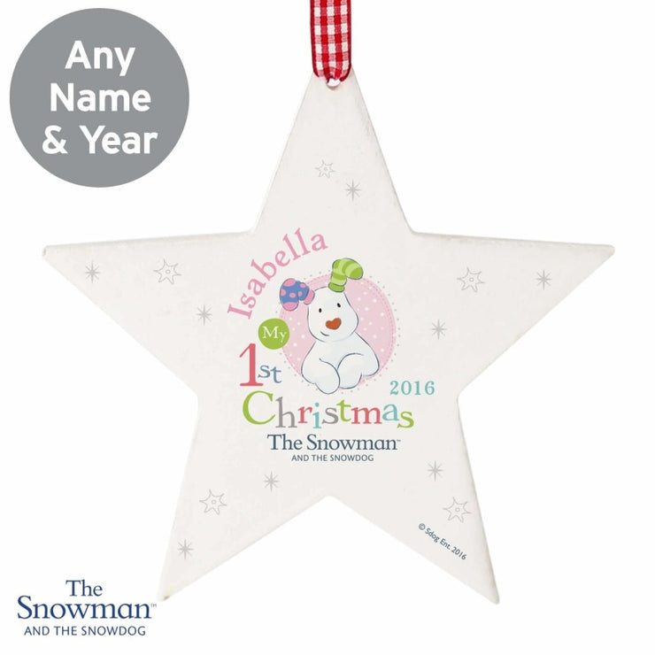 Personalised The Snowman and the Snowdog My 1st Christmas Pink Wooden Star Decoration-Hanging Decoration-Give Personalised Gifts