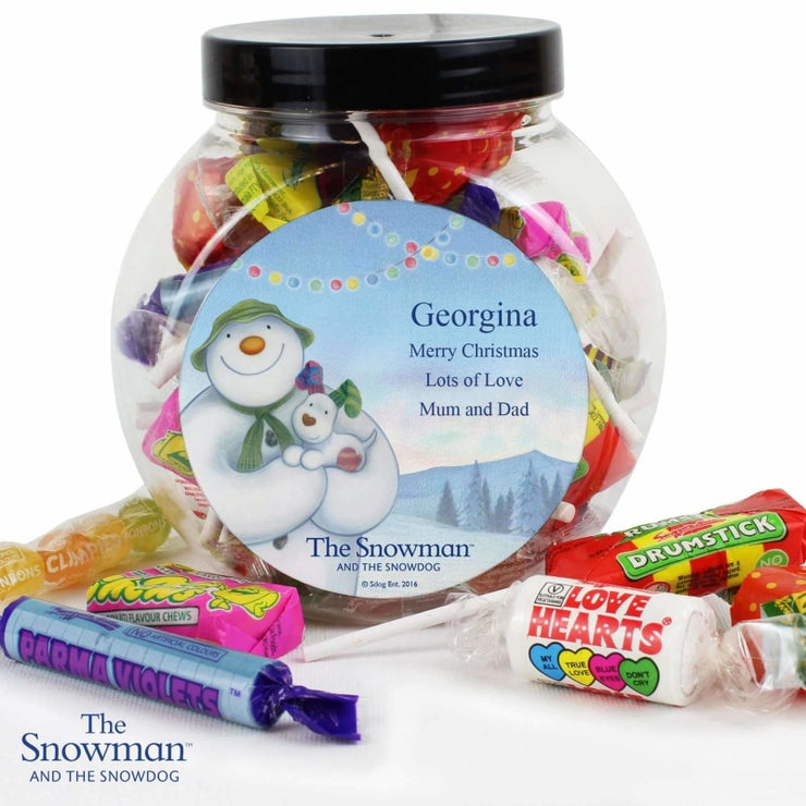 Personalised The Snowman and the Snowdog Sweet Jar-Sweets & Diaries-Give Personalised Gifts