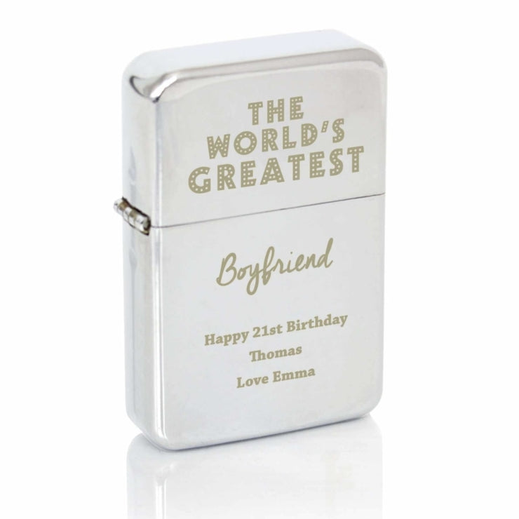 Personalised 'The World's Greatest' Silver Lighter-Lighter-Give Personalised Gifts