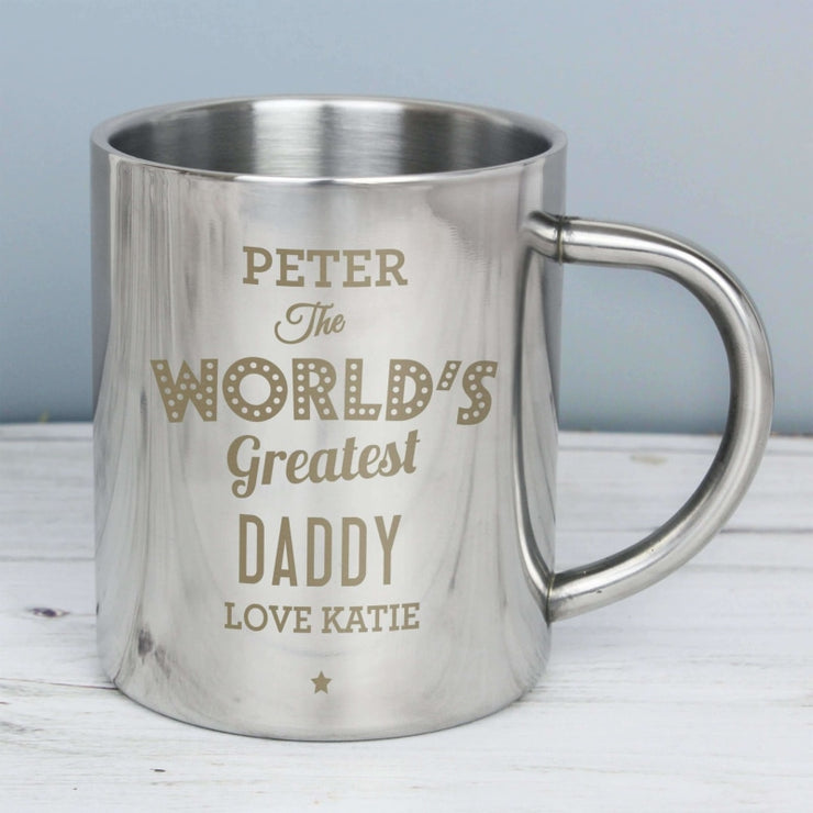 Personalised 'The World's Greatest' Stainless Steel Mug-Mugs-Give Personalised Gifts