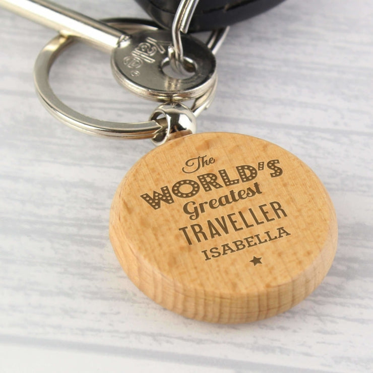 Personalised 'The World's Greatest' Wooden Keyring-Keyring-Give Personalised Gifts