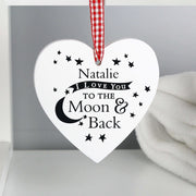 Personalised To the Moon and Back... Wooden Heart Decoration-Hanging Decoration-Give Personalised Gifts