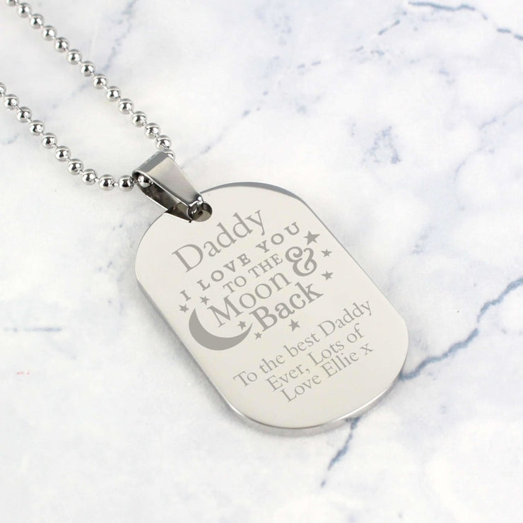 Personalised 'To The Moon & Back...' Stainless Steel Dog Tag Necklace-Necklaces-Give Personalised Gifts