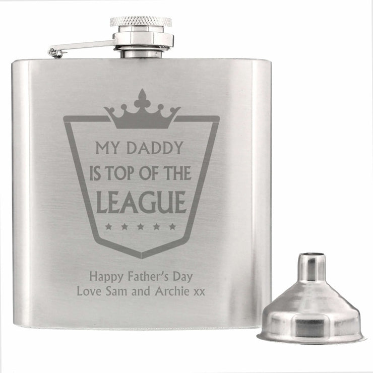 Personalised Top of the League Hip Flask-Hip Flask-Give Personalised Gifts