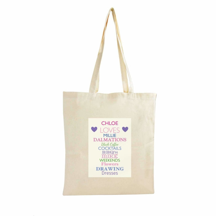 Personalised Top Ten Loves Cotton Bag-Cotton Bag-Give Personalised Gifts