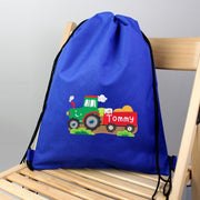 Best Cheap Personalised Tractor Blue Swim & Kit Bag-Swim and Kit Bags-Give Personalised Gifts