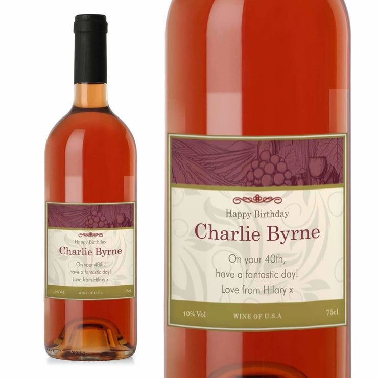 Personalised Traditional Rose Wine-Wine-Give Personalised Gifts