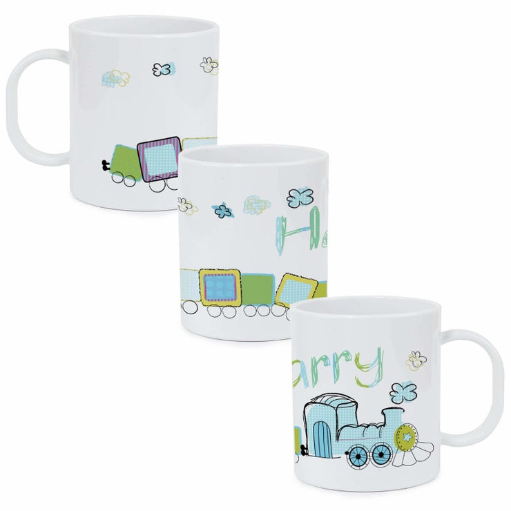Personalised Train Plastic Mug-Mugs-Give Personalised Gifts