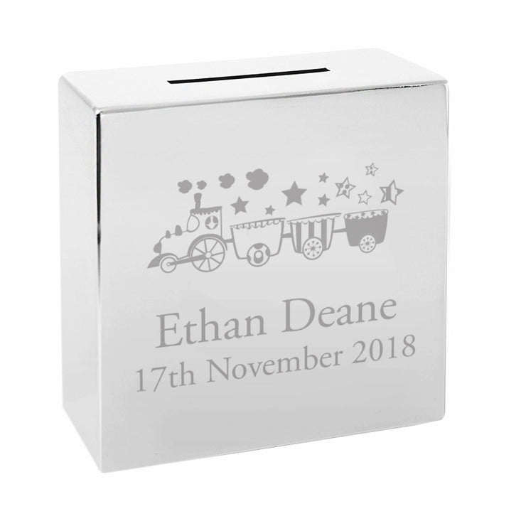Personalised Train Square Money Box-Money Box-Give Personalised Gifts