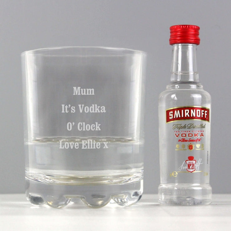 Personalised Tumbler and Smirnoff Vodka Miniature Set-Vodka-Give Personalised Gifts