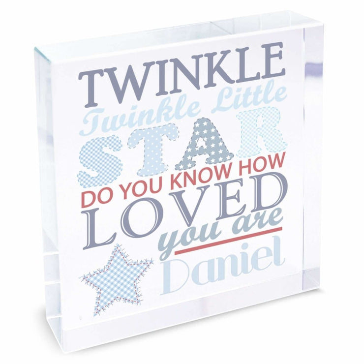 Personalised Twinkle Boys Large Crystal Token-Crystal Token-Give Personalised Gifts