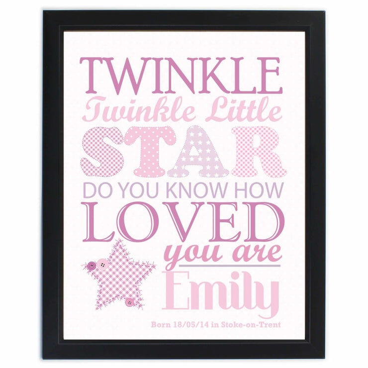 Personalised Twinkle Girls Black Framed Poster Print-Personalised Poster-Give Personalised Gifts