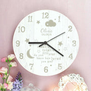 Personalised Twinkle Twinkle Shabby Chic Large Wooden Clock-Clock-Give Personalised Gifts