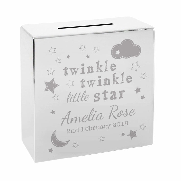 Personalised Twinkle Twinkle Square Money Box-Money Box-Give Personalised Gifts