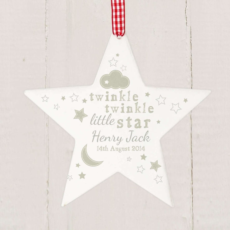 Personalised Twinkle Twinkle Wooden Star Decoration-Home Accessories-Give Personalised Gifts