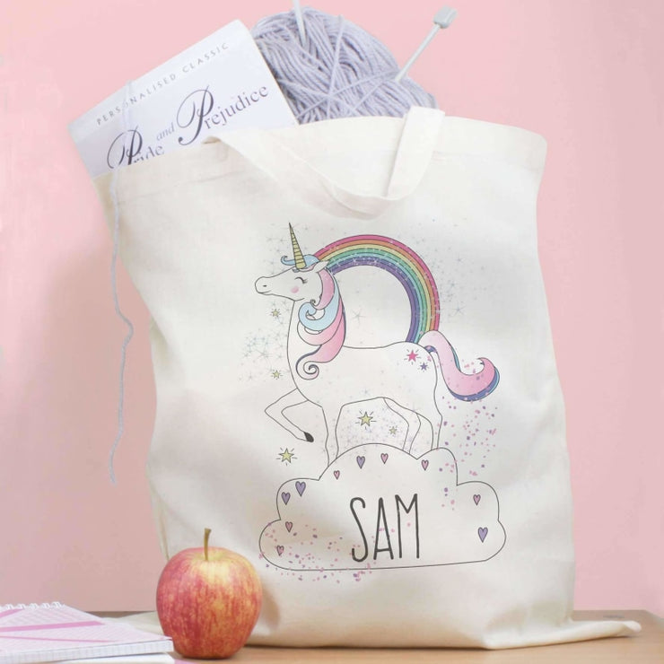 Personalised Unicorn Cotton Bag-Cotton Bag-Give Personalised Gifts