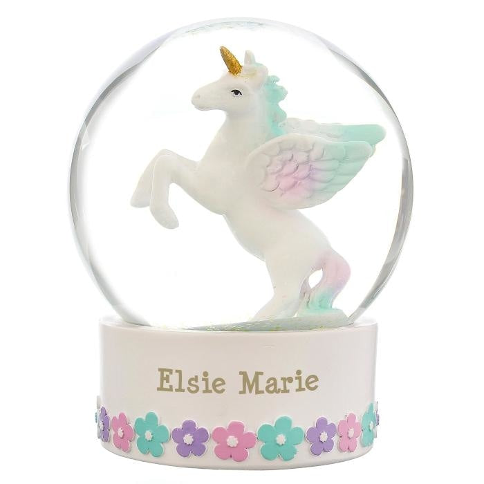 Personalised Unicorn Name Snow Globe-Snow Globe-Give Personalised Gifts
