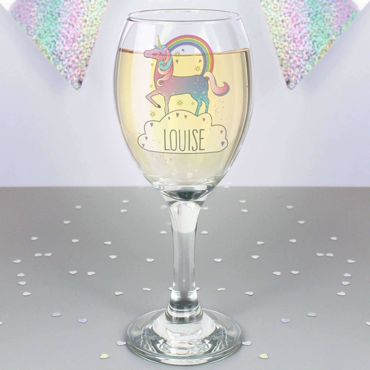 Personalised Unicorn Wine Glass-Glassware-Give Personalised Gifts