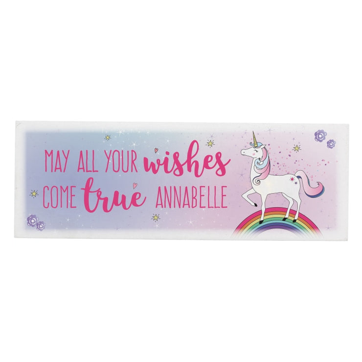 Personalised Unicorn Wooden Block Sign-Signs-Give Personalised Gifts