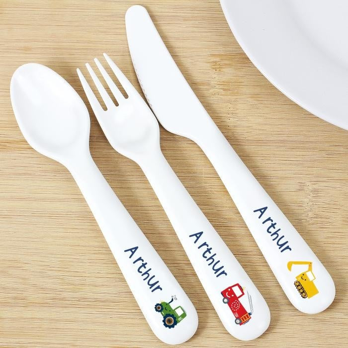 Personalised Vehicles Plastic Cutlery-Kids Cutlery-Give Personalised Gifts
