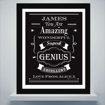 Personalised Vintage Typography Black Framed Poster Print-Framed Print-Give Personalised Gifts