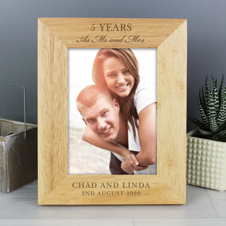 Personalised Wedding Anniversary 5x7 Wooden Portrait Photo Frame-Photo Frame-Give Personalised Gifts
