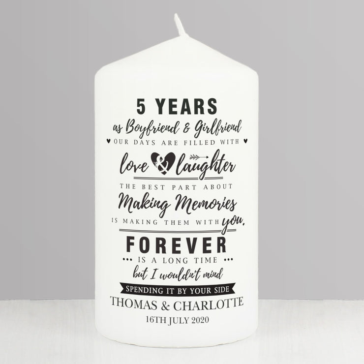 Personalised Wedding Anniversary Pillar Candle-Candles & Holder-Give Personalised Gifts