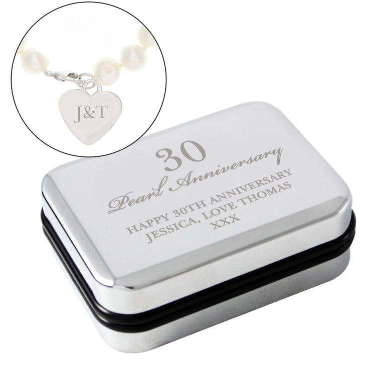 Personalised Wedding Anniversary Silver Box and Pearl Bracelet-Jewellery-Give Personalised Gifts