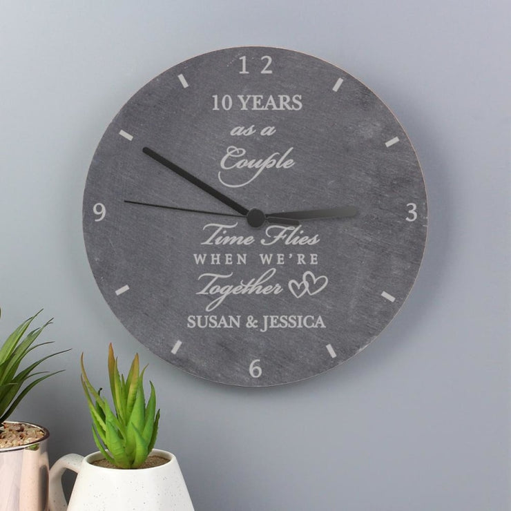 Personalised Wedding Anniversary Slate Clock-Clock-Give Personalised Gifts