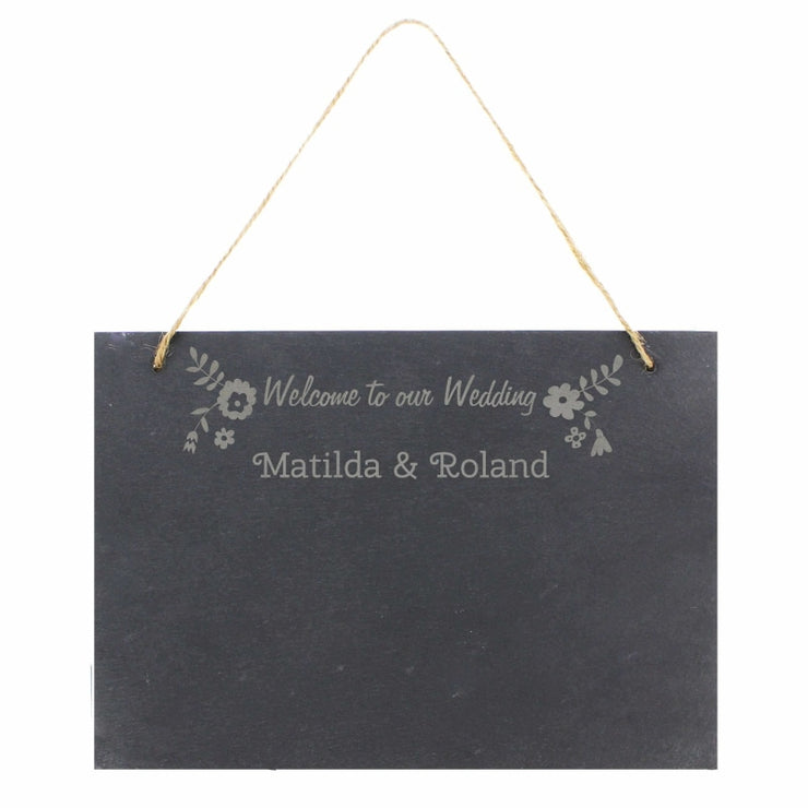 Personalised Wedding Flowers Hanging Large Slate Sign-Signs-Give Personalised Gifts