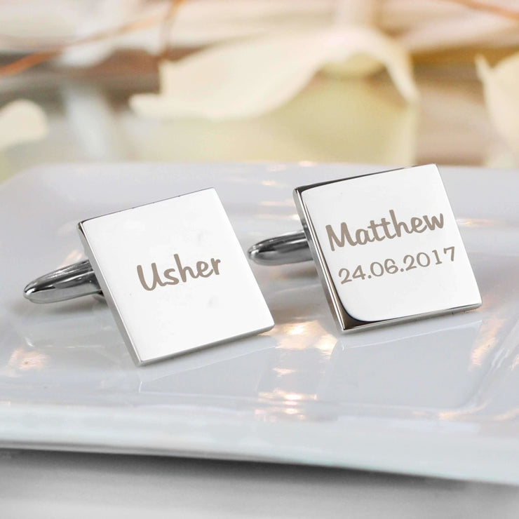 Personalised Wedding Role Square Cufflinks -1 line-Cufflinks-Give Personalised Gifts