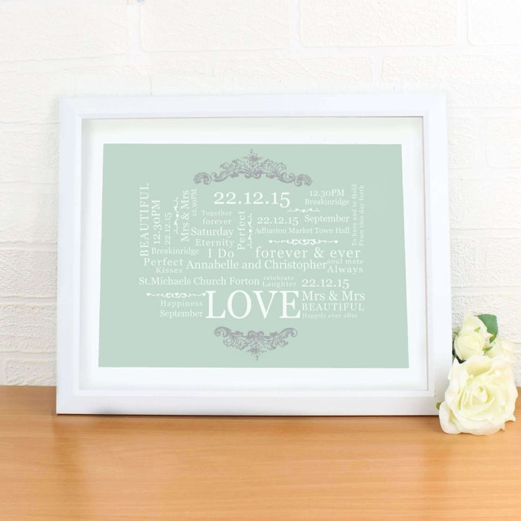 Personalised Wedding Typographic Art White Framed Poster Print-Personalised Poster-Give Personalised Gifts