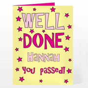 Personalised Well Done Yellow & Pink Card-Personalised Cards-Give Personalised Gifts