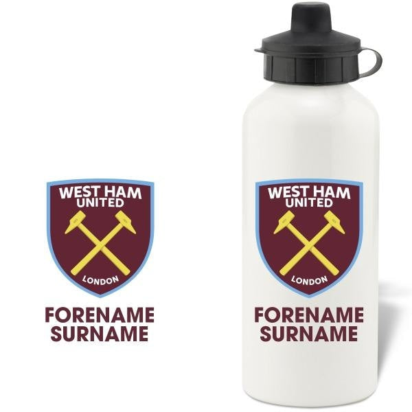 Personalised West Ham United FC Bold Crest Water Bottle-Drinks Bottle-Give Personalised Gifts