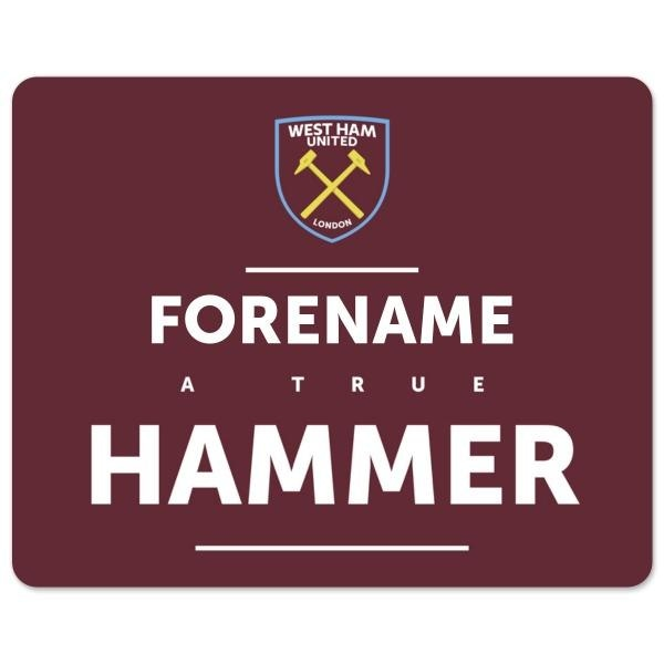 Personalised West Ham United FC True Hammer Mouse Mat-Mouse Mat-Give Personalised Gifts