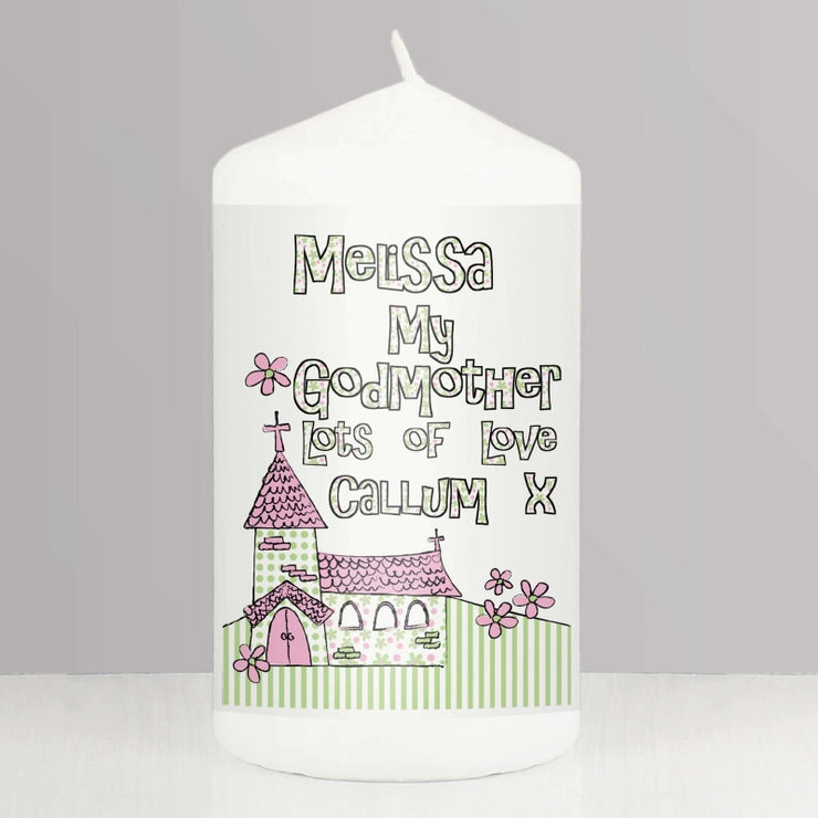 Personalised Whimsical Church Godmother Candle-Candles & Holder-Give Personalised Gifts