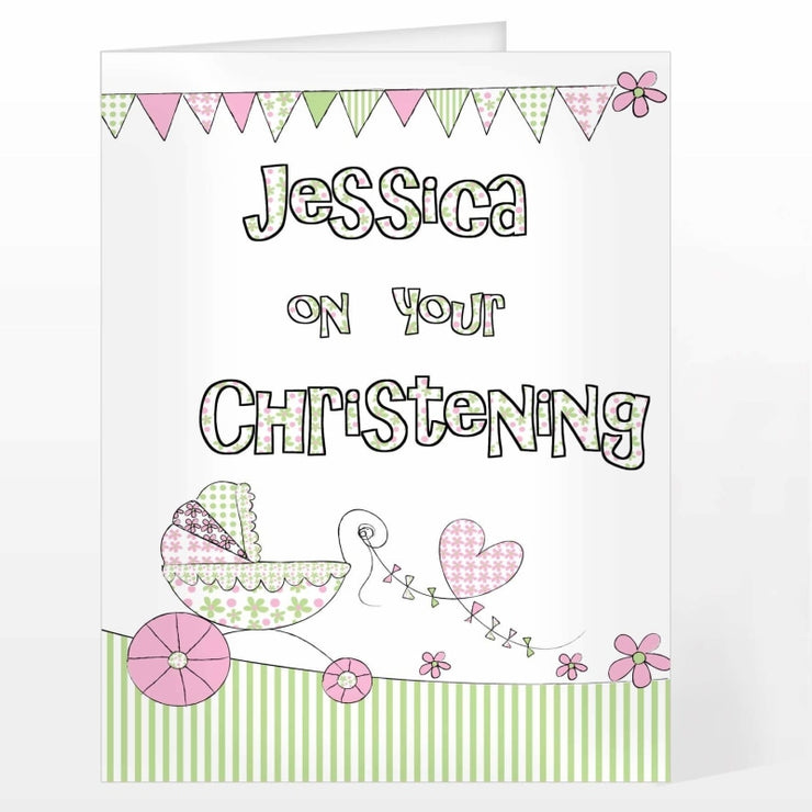 Personalised Whimsical Pram Card-Personalised Cards-Give Personalised Gifts