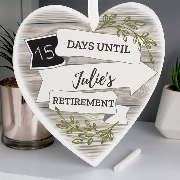 Personalised White Arrow Banner Chalk Countdown 22cm Wooden Heart Decoration-Give Personalised Gifts