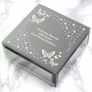 Personalised White Butterfly Diamante Glass Trinket Box-Trinket Box-Give Personalised Gifts