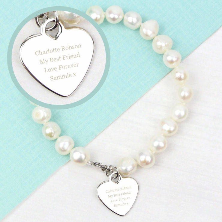 Personalised White Freshwater Pearl Message Bracelet-Jewellery-Give Personalised Gifts