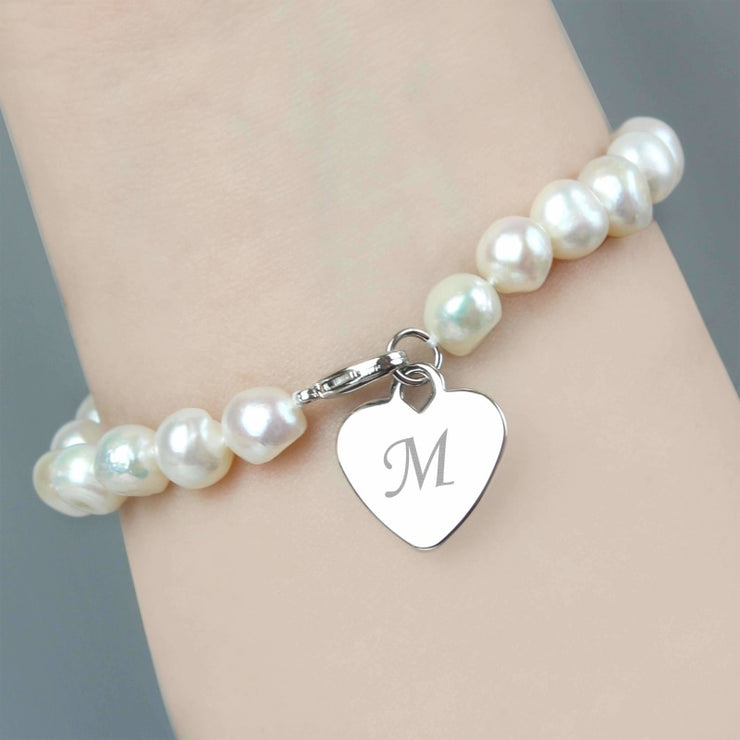 Personalised White Freshwater Scripted Initial Pearl Bracelet-Jewellery-Give Personalised Gifts