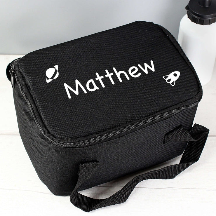 Personalised White Rocket Black Lunch Bag-Lunch Bag-Give Personalised Gifts