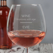 Personalised 'Wine Improves with Age' Bottle of Wine Glass-Glassware-Give Personalised Gifts