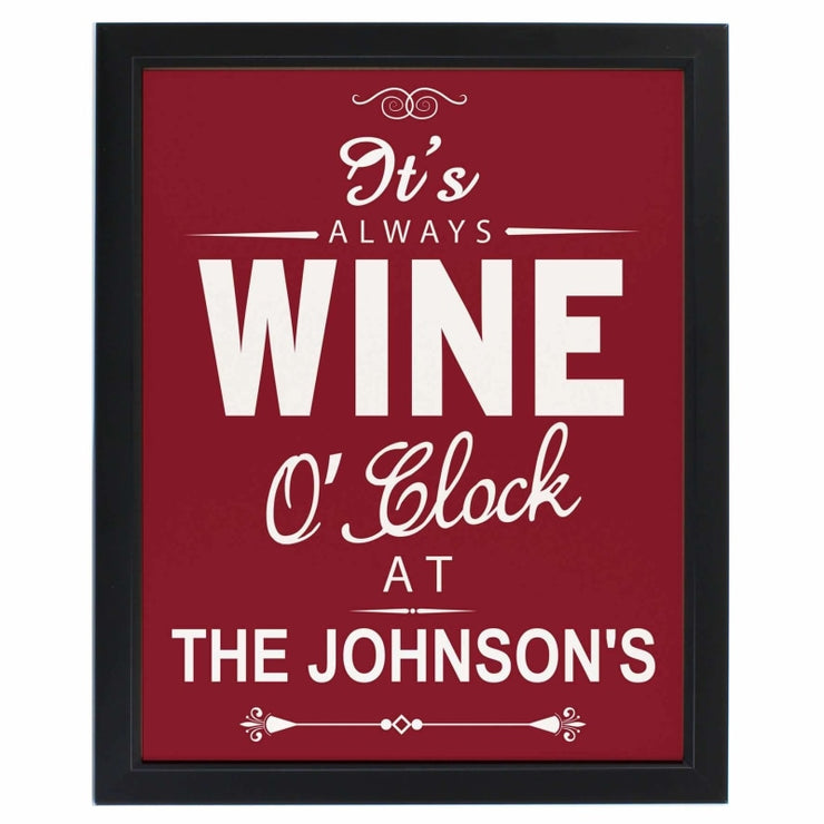 Personalised Wine O'Clock Black Framed Poster Print-Framed Print-Give Personalised Gifts