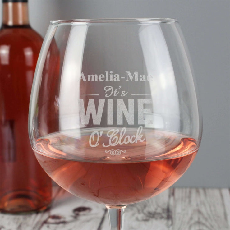 Personalised Wine O'Clock Bottle of Wine Glass-Glassware-Give Personalised Gifts